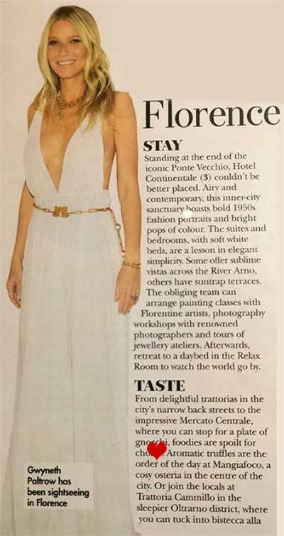 Gwyneth Paltrow è stata ospite da Mangiafoco Osteria Tartuferia Firenze